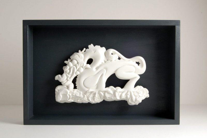 Drache Steinguss, H 20cm, B 30cm (inkl. Holzkasten), 130,-€