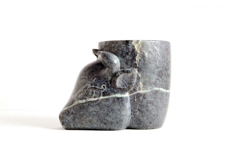 Stierkopf Speckstein, H 10,2 cm, L 13,5 cm, 550,-€