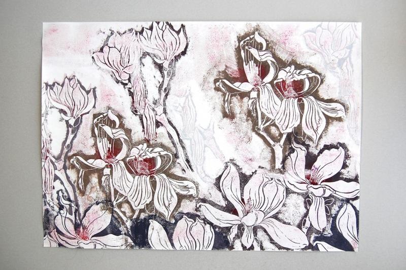 Linoldruck Magnolie , groß, 350,-€