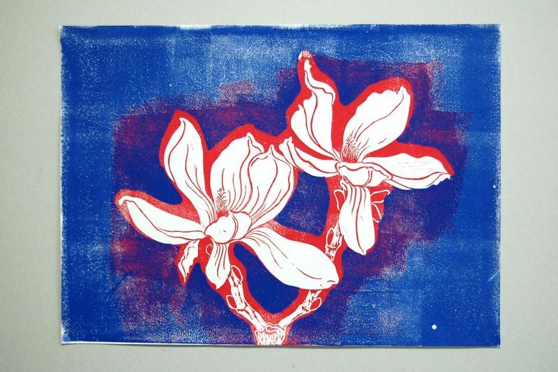 Linoldruck Magnolie , klein, 80,-€