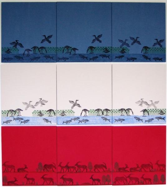 Linoldruck auf Stoff, 9-teilig, je 45x50cm, 1200,-€