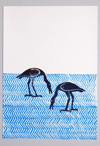 Linoldruck auf-Papier,-28x20cm, im Rahmen 40,-€
