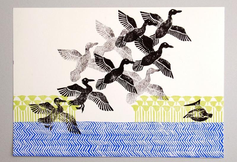 Linoldruck auf-Papier, 42x29,8cm, mit Rahmen 75,-€