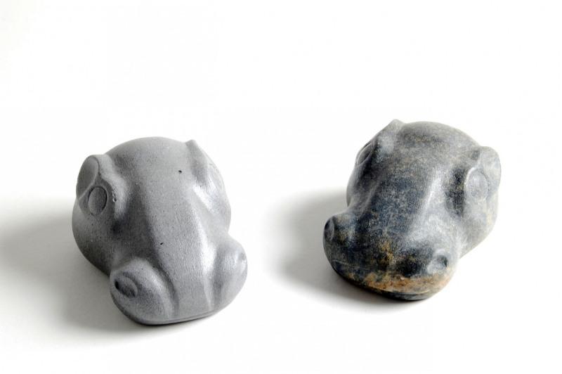 Nilpferdkopf, Gruppe (Steinguss und Speckstein)