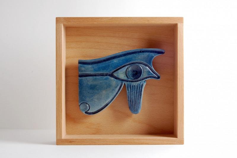 Udjat Auge Steinguss bemalt, im Holzrahmen H 20 cm, L 20 cm, 85,- €